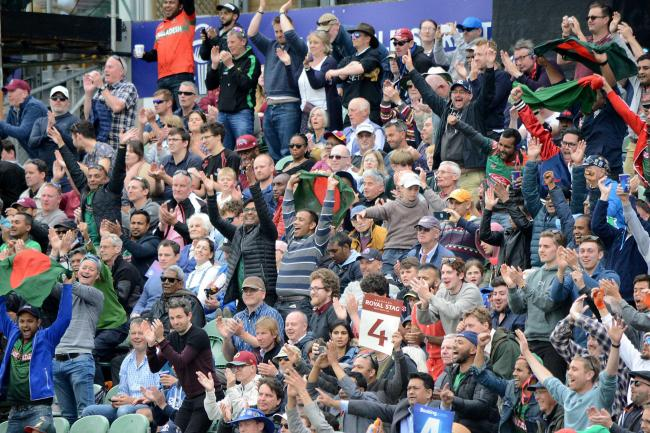 Bangladesh beat the West Indies in the ICC Cricket World Cup in Taunton. June 2019.