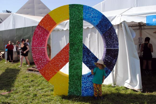 LOGO: The classic CND symbol is a strong part of the Glastonbury Festival identity. PICTURE: Paul Jones