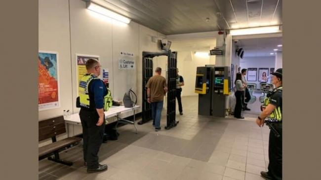 KNIFE ARCH: The metal detector being used at train stations
