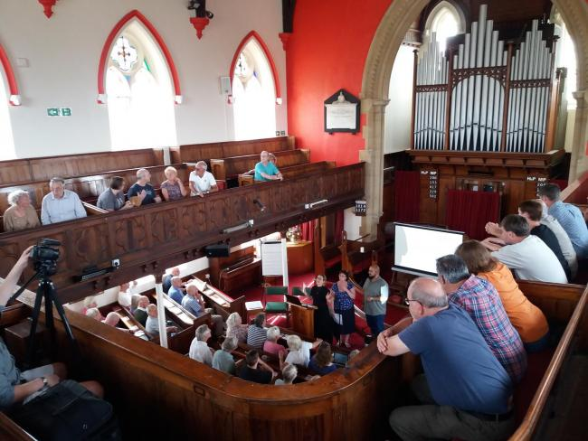 BUSY: The public meeting discussing plans for future industry for Watchet Paper Mill at Watchet Methodist Church