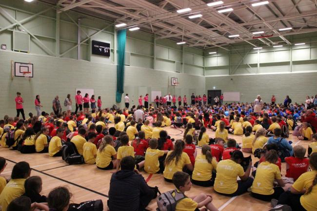 TOGETHER: 550 primary school pupils at Richard Huish College, Taunton