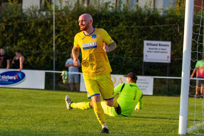 TREBLE: Dan Sullivan helped himself to a hat-trick in Taunton Town's 5-2 win on Thursday night. Pic: Ashley Harris