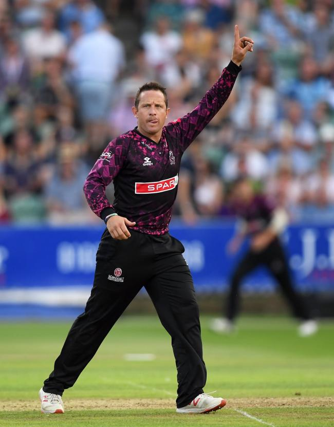 DEFEAT: Roelof van der Merwe was one of just two Somerset bowlers to take a wicket against Surrey. Pic; SCCC