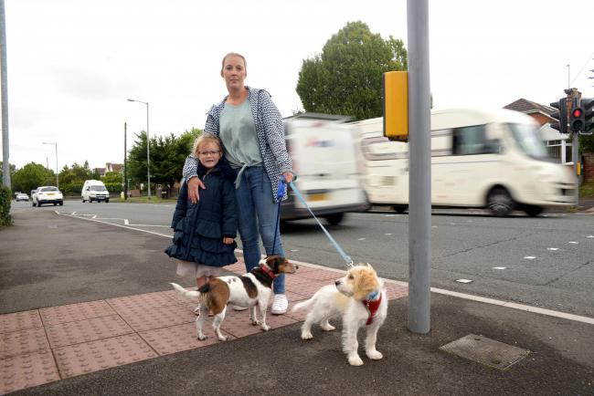 NEAR MISS: Serrenna Markham and daughter Annabelle, with dogs Milo and Loki, at the crossing in Bridgwater Road
