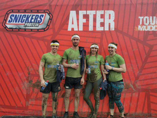 EFFORT: George Shurley, Moss Macriner, Cristy Twine and Rebecca Bennett at the Tough Mudder run