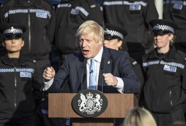 'BACKBONE': Prime Minister Boris Johnson making a speech during a visit to West Yorkshire. PICTURE: Danny Lawson/PA Wire