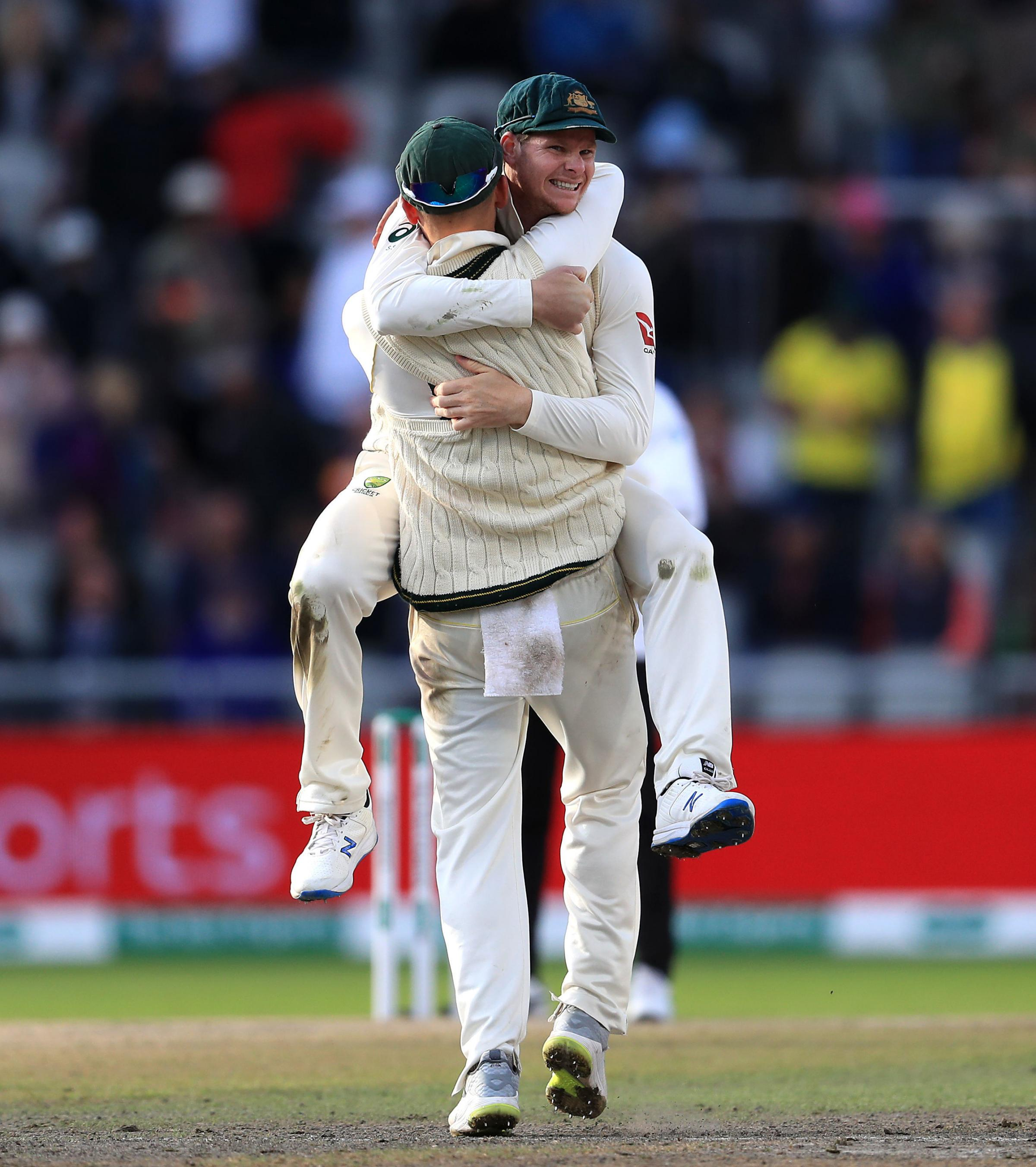 Steve Smith 'mocks Jack Leach' during Australia's Ashes celebrations