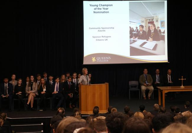 RECOGNISED: Dr Lorraine Earps announcing the news to the school