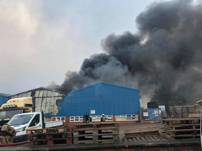 FIRE: Eight fire engines were sent to the scene on Poole Industrial Estate this morning (Pictures by PSCO Simon Bramley)