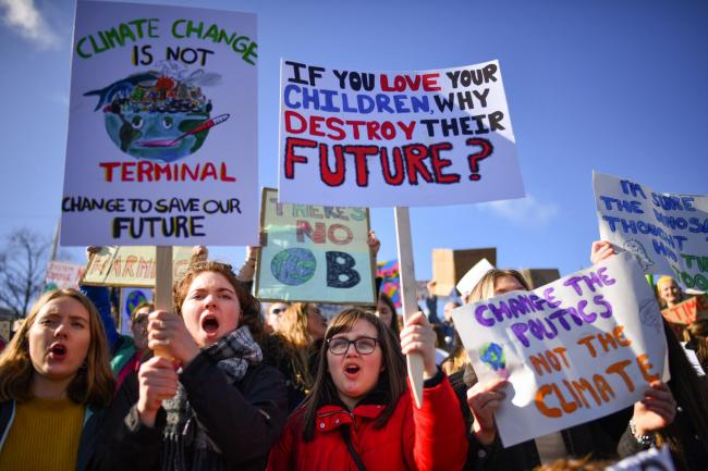 WASTE OF TIME?: Young people protesting over the environment. PICTURE: Jeff J Mitchell/Getty Images