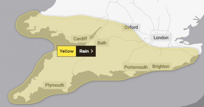 EXTREME WEATHER: The yellow warning from the Met Office for the South West