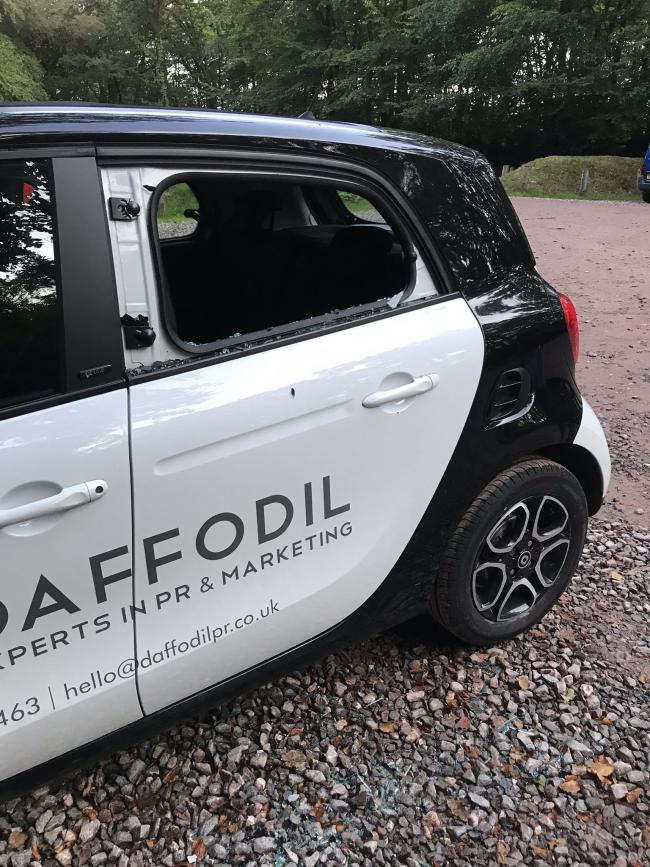 SMASHED: Car broken into at Wellington monument