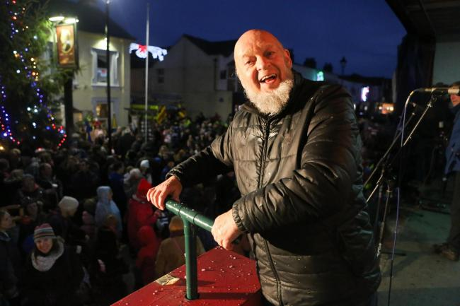 GLASTON-MERRY CHRISTMAS!: Michael Eavis switched on Burnham's lights in 2015