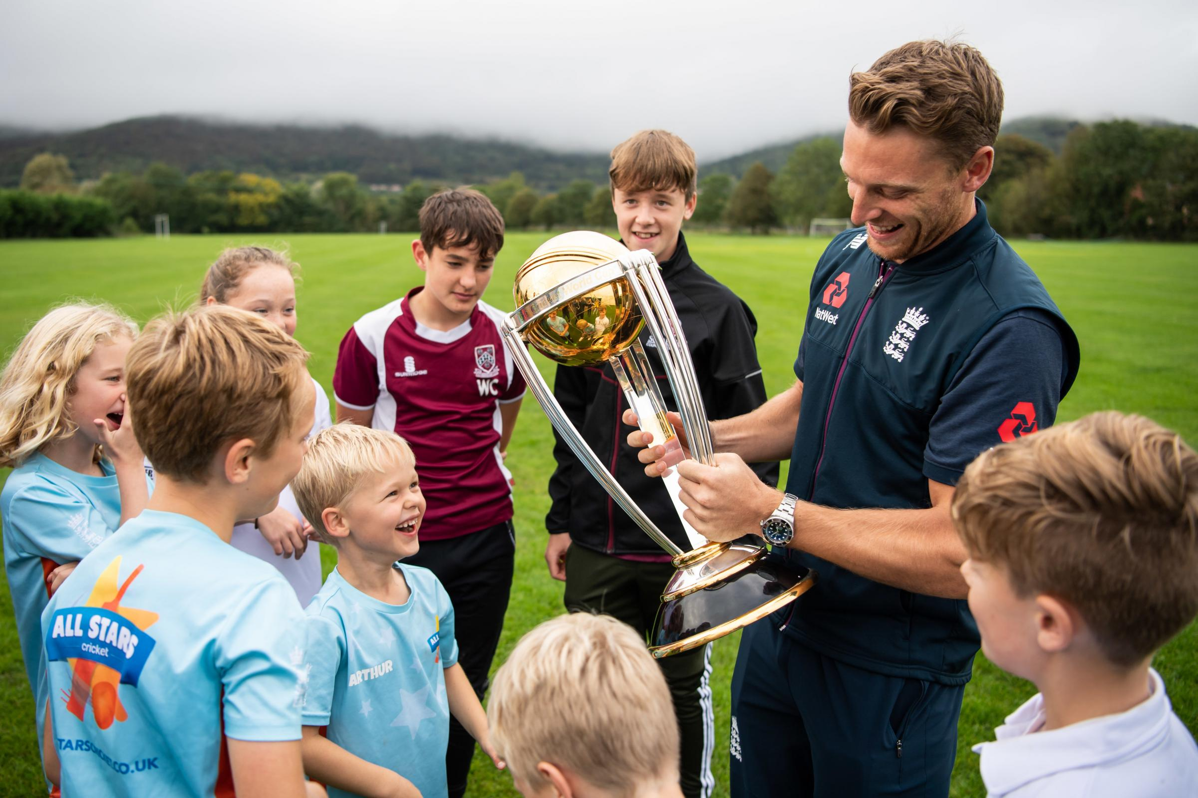 Jos Buttler: England World Cup hero takes trophy to Cheddar CC