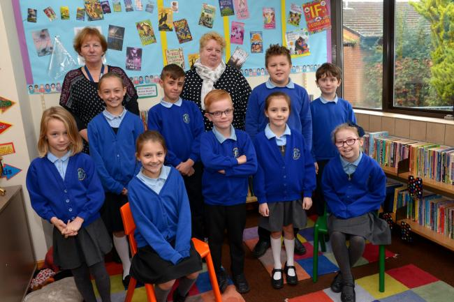 PROUD: The Eco team at Holway Park Community Primary School with Mrs Gregory and headteacher Susan Brewer