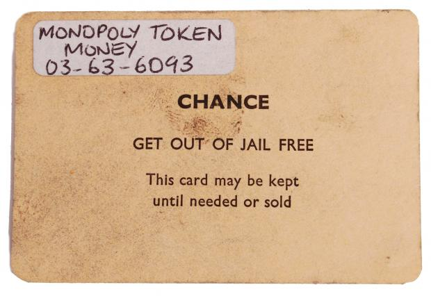 Somerset County Gazette: CHANCE CARD: 'Get Out Of Jail' they infamously used in a game of Monopoly by the Great Train Robbers. Picture: SWNS