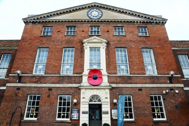 WE WILL REMEMBER: The giant poppy on Taunton's Market House