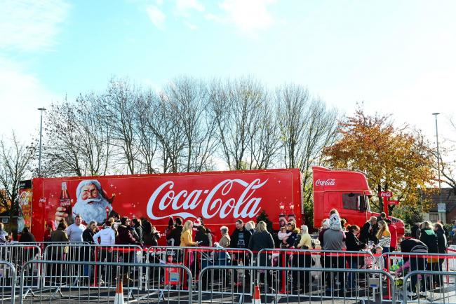 CHRISTMAS TIME: The Coca Cola Truck in Taunton last year