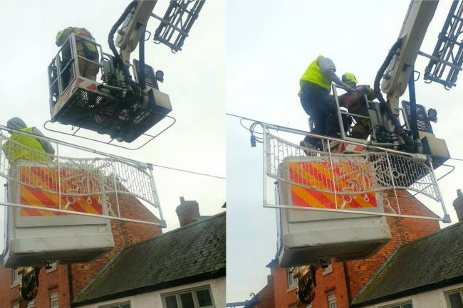 'Thrilling rescue' after man is stuck for two hours in broken cherry picker