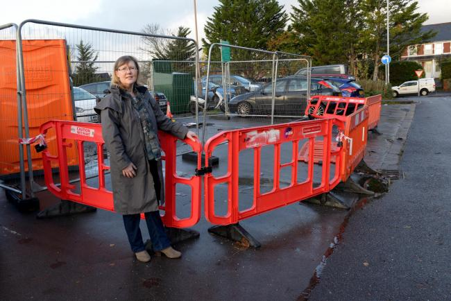 FRUSTRATION: Pat Butler, of Tone-a-cise, who has lost business after short stay car park spaces were fenced off