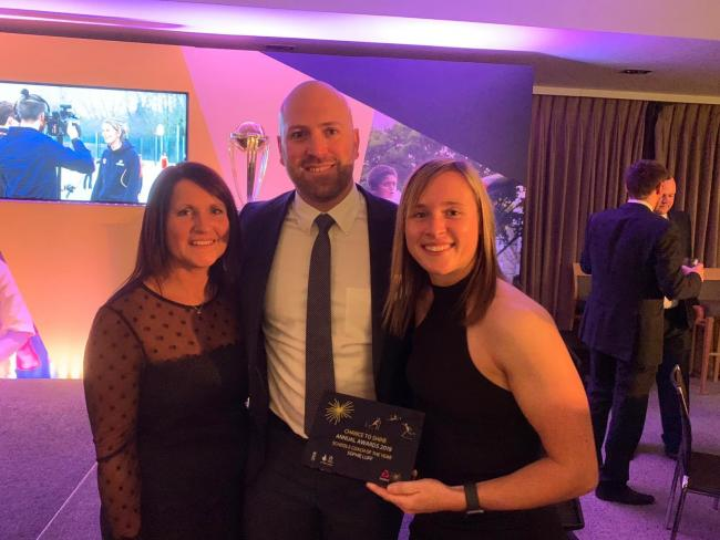 Sophie Luff (right) at the Chance to Shine awards with her mother Selena and former England wicketkeeper Matt Prior