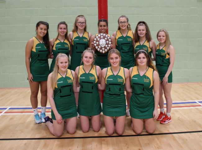 GLORY: Richard Huish College U19 county netball champions, back row - Jess Chee, Elysia Carter-Rice, Evie Tatterton, Lauren Knight, Abbie Newton, Izzy Innalls, Josie Cross; front - Emily Evans, Ella Silsby, Eve Newman, Lottie Hanrahan