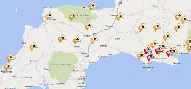 WARNING: 15 flood alerts have been issued across Somerset amid fears of a 'large tidal surge'