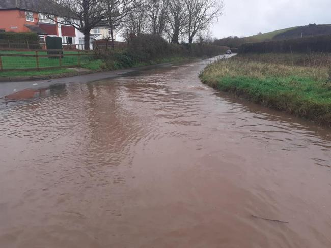 FLOOD: The Doniford road in West Somerset (Picture by Thomas Gulliford)