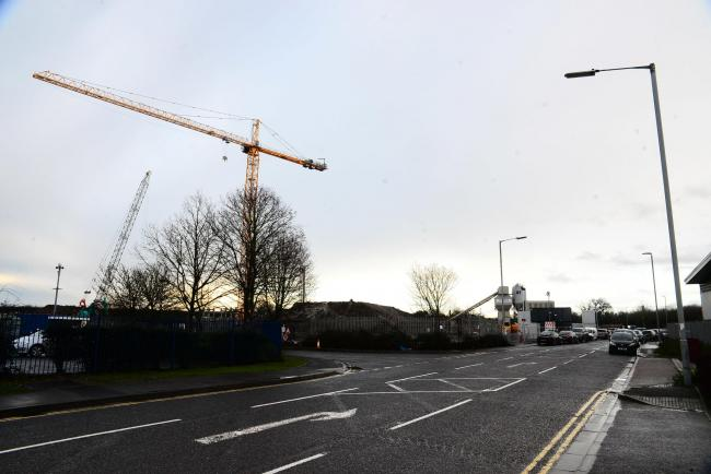 PROJECT: A crane on the construction site at Showground Road in Bridgwater