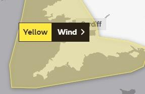 WARNING: The wind warning for the Met Office for Monday, January 13