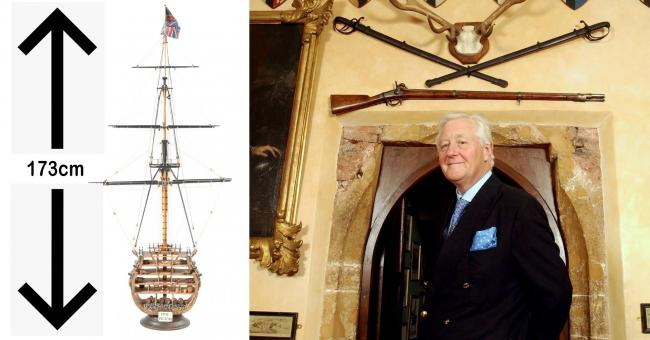 MODEL: Sir Benjamin Slade at his home, Maunsel House. Sir Ben bought a model of HMS Victory which was smaller than he envisaged... PICTURES: SWNS/Wooley & Wallis