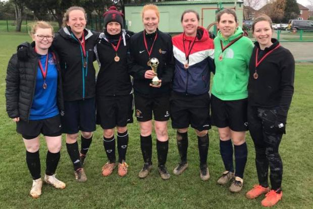DELIGHT: Ash Rangers Ladies, Somerset FA tournament winners - Nat Price, Ella Hewton, Rhiannon Butterfield, Harriet Kelly, Laura Entwhistle, Laura Currie, Amy Lang