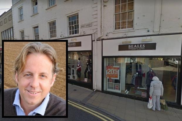 Beales in Yeovil, with South Somerset MP Marcus Fysh inset