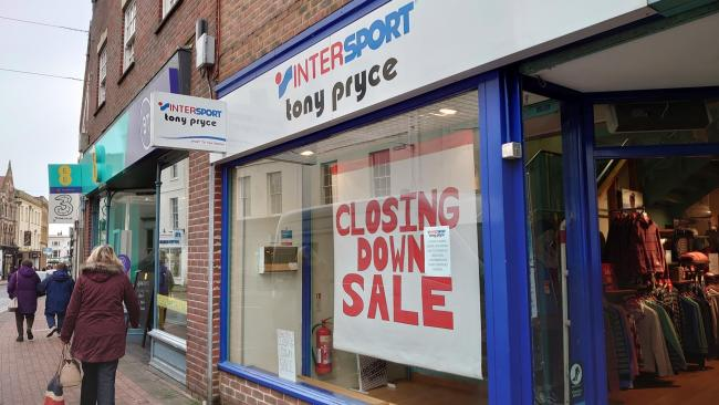 CLOSED: Tony Pryce sports shop in East Street, Taunton