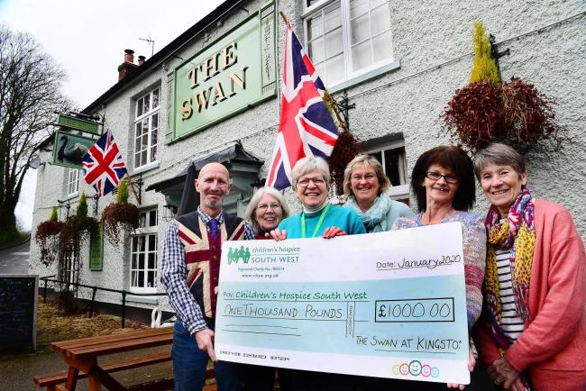 CHARITY: The Swan at Kingston raised £1,000 for Children's Hospice South West