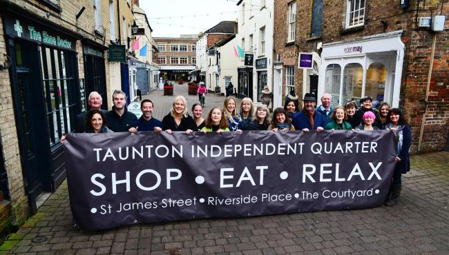 PROUD: Some of the shop owners from Taunton's Independent Quarter