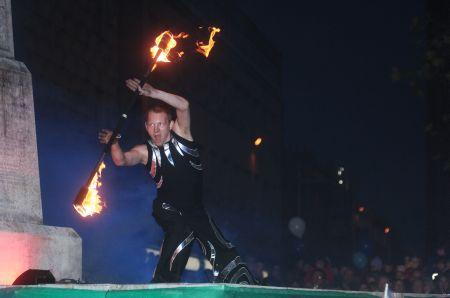 A scene from the fire show
