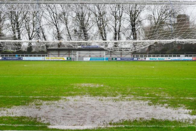 WET: The scene at Taunton's Cygnet Health Care Stadium on Saturday. Pic: Steve Richardson