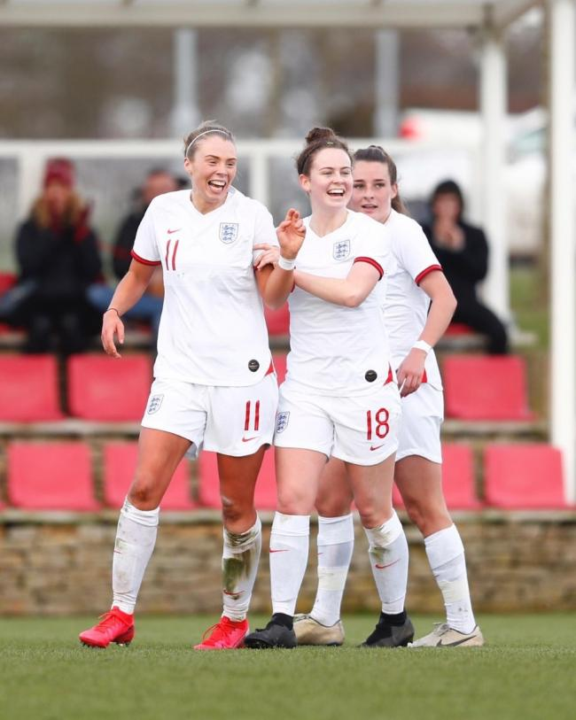 SUCCESS: Emily Syme (pictured centre) celebrates England's second goal in their 2-0 win over France. Pic: Kunjan Malde/Wonderhatch/The FA