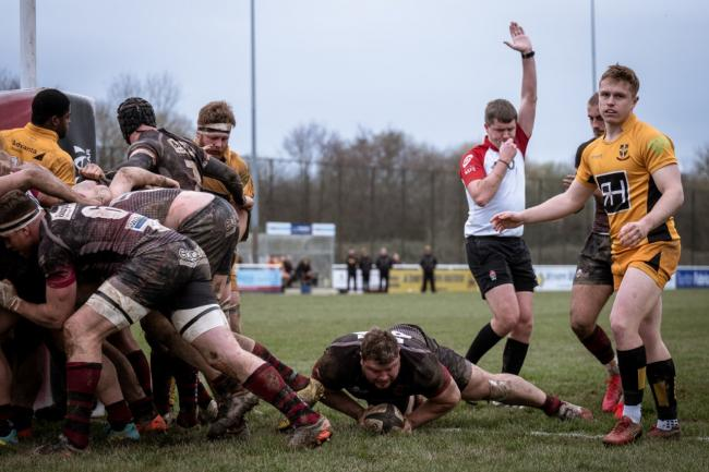 TRY TIME: Sam Prior scores to give Taunton Titans a 43-10 lead over Esher. Pic: Clayton Jane Photography