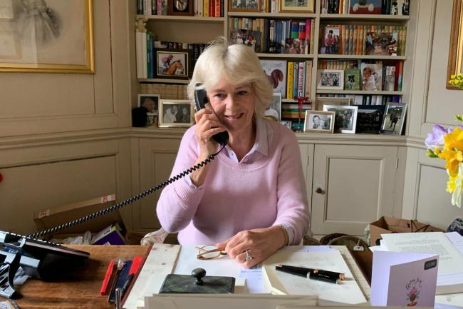The Duchess of Cornwall, known as the Duchess of Rothesay while in Scotland, on the phone at Birkhall in Aberdeenshire after she came out of self-isolation
