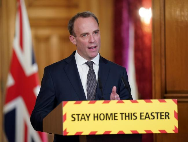 ANNOUNCEMENT: Dominic Raab speaking at the daily No 10 press briefing. Picture - PA