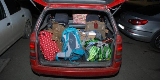 The boot of Popu's car full of stolen items