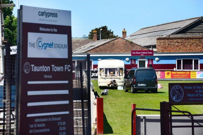 INCURSION: The travellers at Taunton Town Football Club on Friday