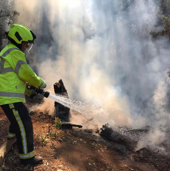 INCIDENT: Firefighters tackle the blaze (Pictures by Minehead Fire Station)
