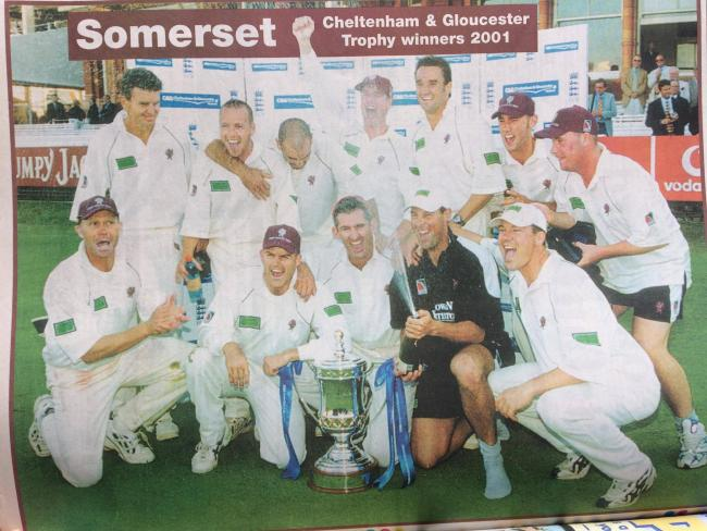 VICTORY: The Somerset team celebrate winning the Cheltenham & Gloucester Trophy