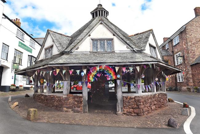 SPECTACULAR: More than two miles of bunting created by volunteers has been hung in Dunster. PICTURES: Nina Dodd