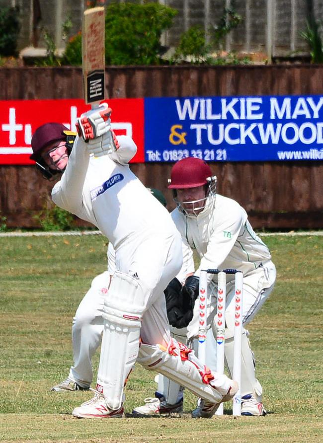HOME WIN: Taunton St Andrews 2nd XI player Jordan Lee in action against Chard on Saturday (pic: Steve Richardson)