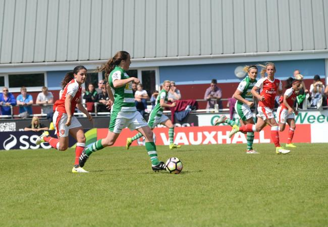 STAR NAMES: Danielle van de Donk, Jordan Nobbs and Alex Scott were among the Arsenal players who took to the field at Taunton Town in 2017, facing Yeovil Town Ladies (pic: Aisling Magill)