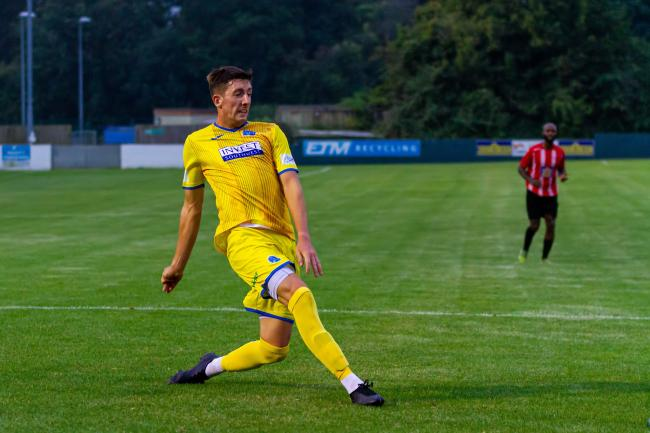 IN FORM: Taunton Town striker Toby Holmes scored a hat-trick in the Peacocks' latest FA Cup tie (pic: Ashley Harris)